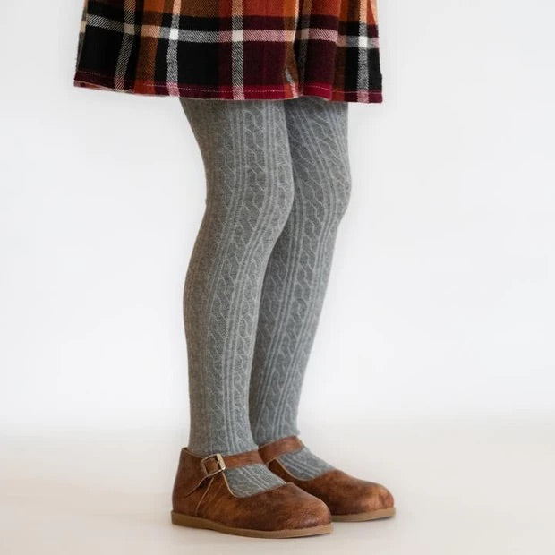 Cable Knit Tights in Gray  - Doodlebug's Children's Boutique