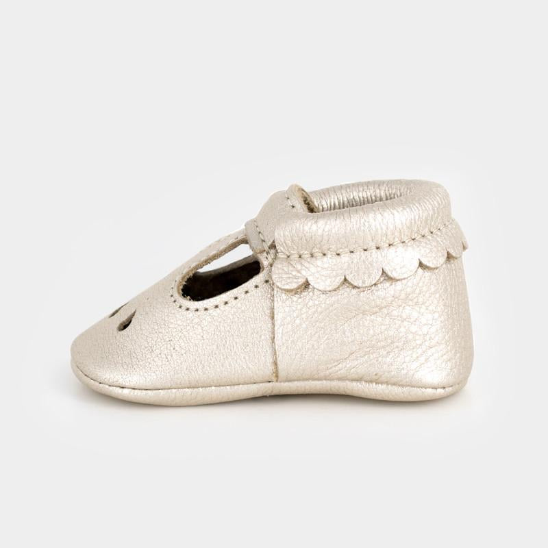 Mary Jane Shoe in Gold  - Doodlebug's Children's Boutique
