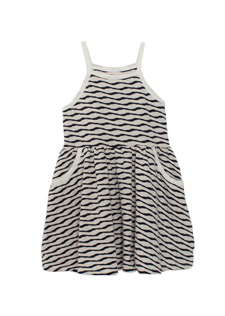 Blue Textured Knit Dress  - Doodlebug's Children's Boutique