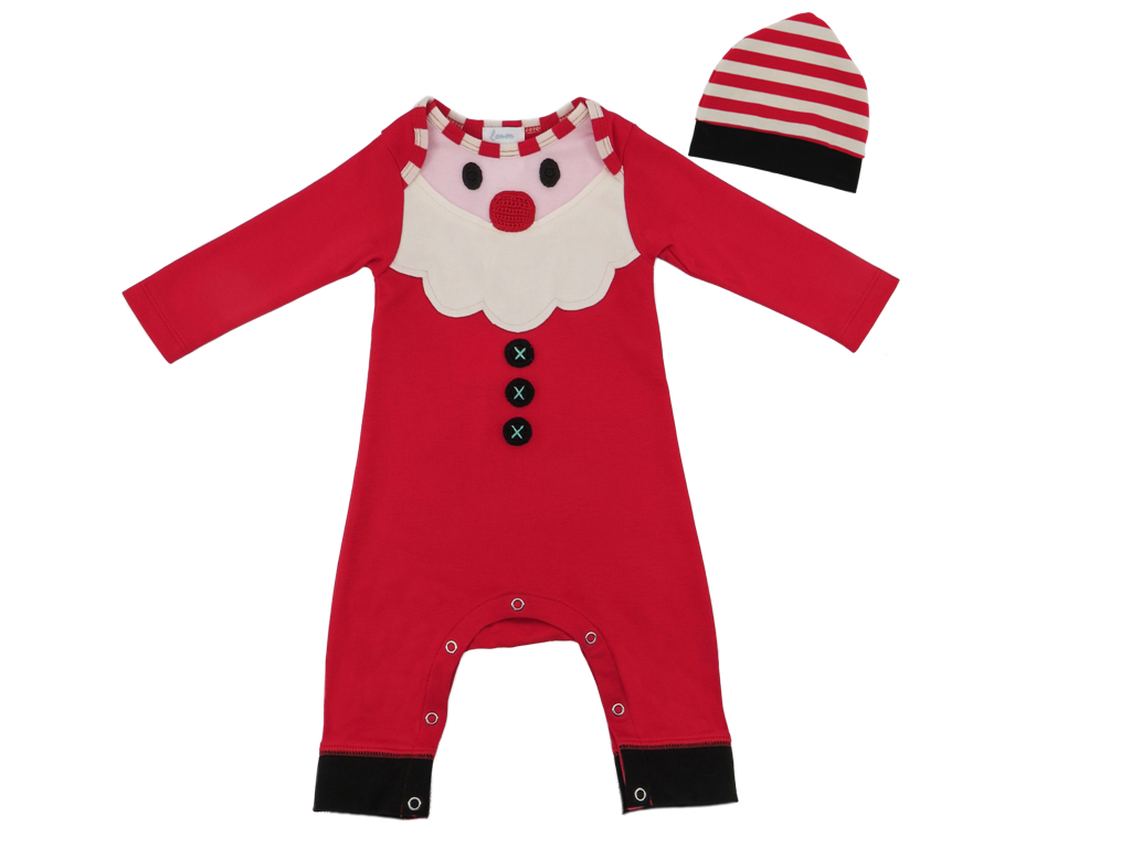 Santa Baby Romper with Hat  - Doodlebug's Children's Boutique