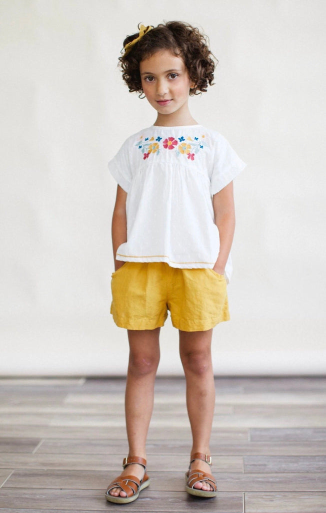 White Swing Top and Mustard Short Set  - Doodlebug's Children's Boutique