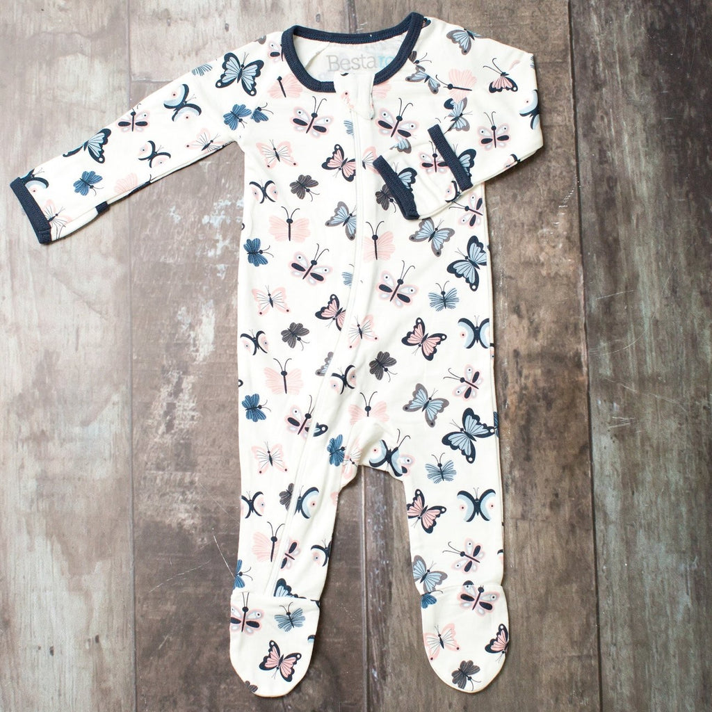 White Butterflies Zippered Footie  - Doodlebug's Children's Boutique