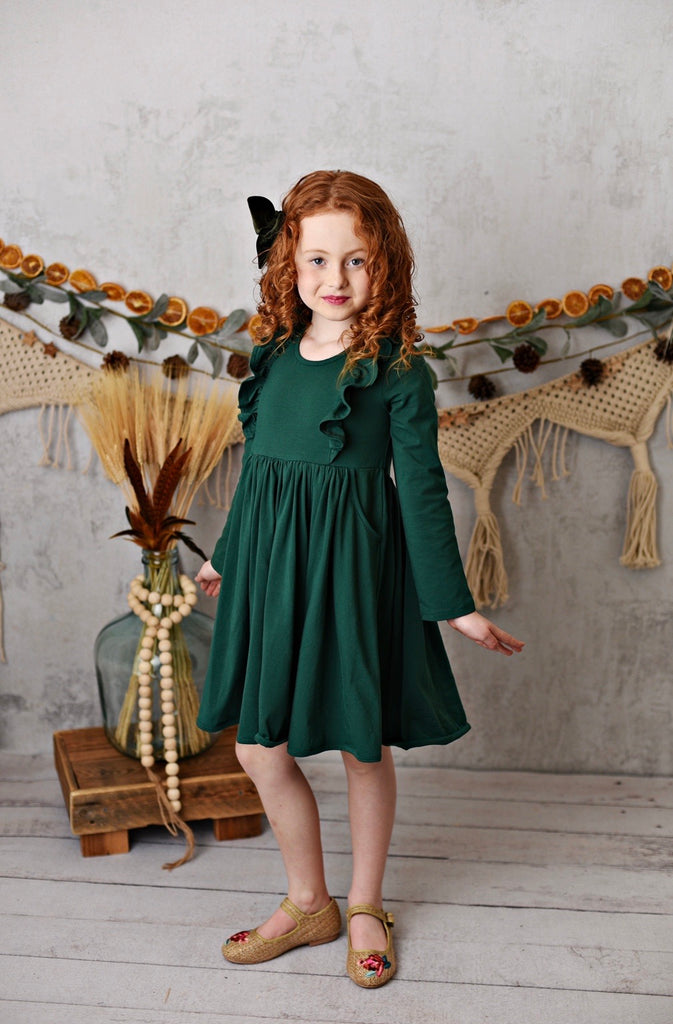 Hunter Green Bella Essentials Pocket Dress  - Doodlebug's Children's Boutique