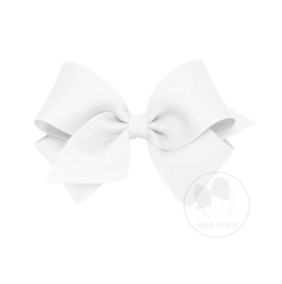 Wee Ones Small Classic Bow White - Doodlebug's Children's Boutique