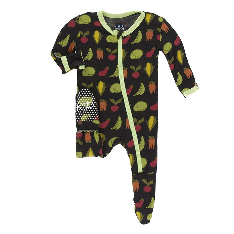 Print Footie with Zipper in Zebra Garden Veggies  - Doodlebug's Children's Boutique