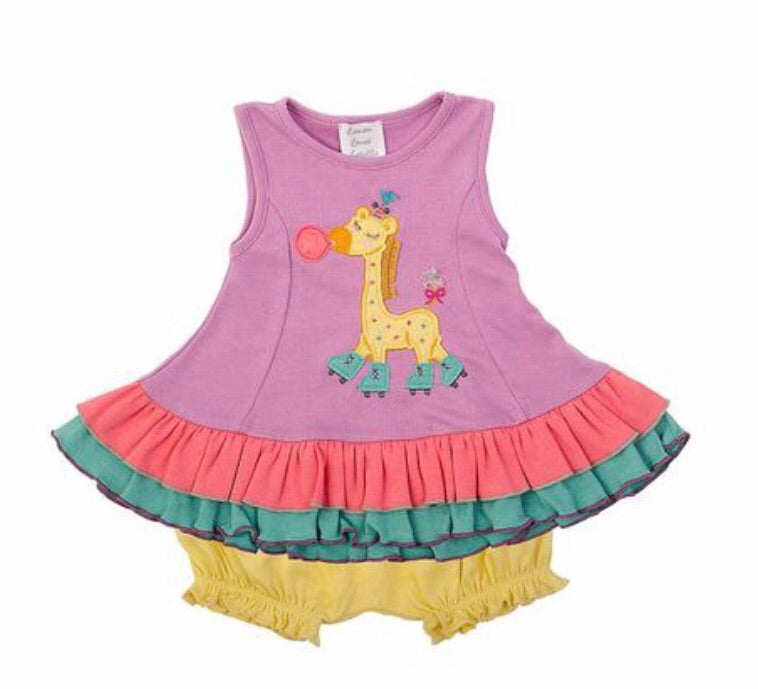 Lemon Loves Lime Lil Giraffe Roller Skate Dress Set