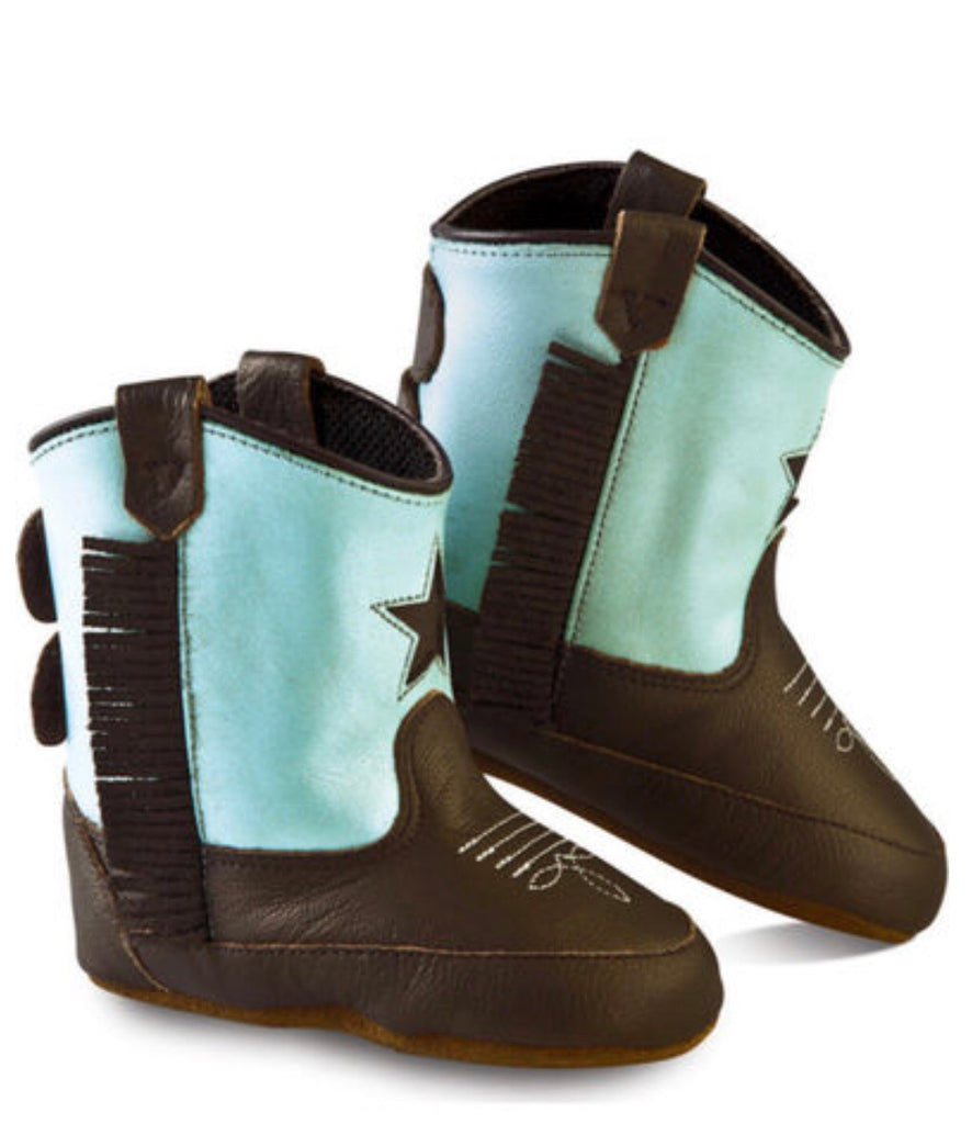 Old West Poppets Blue Infant Boots  - Doodlebug's Children's Boutique