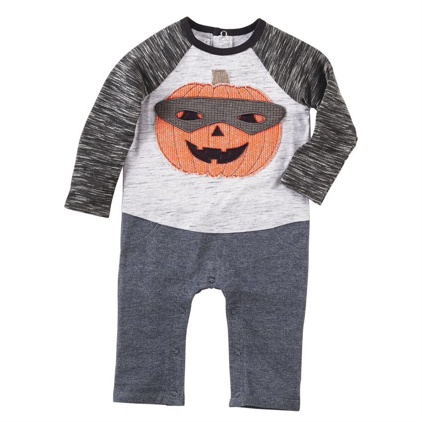 Pumpkin Mask One-Piece  - Doodlebug's Children's Boutique