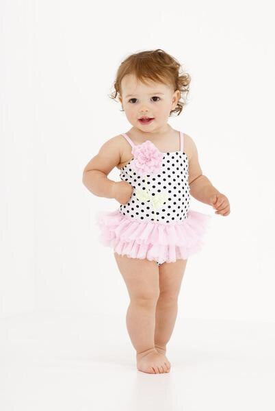 Kate Mack Black Flower Polka Dot Tutu Swimswuit