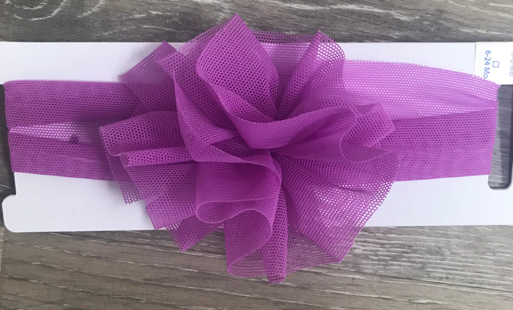 Purple Mesh Puff Headband Purple / 0-6 months - Doodlebug's Children's Boutique