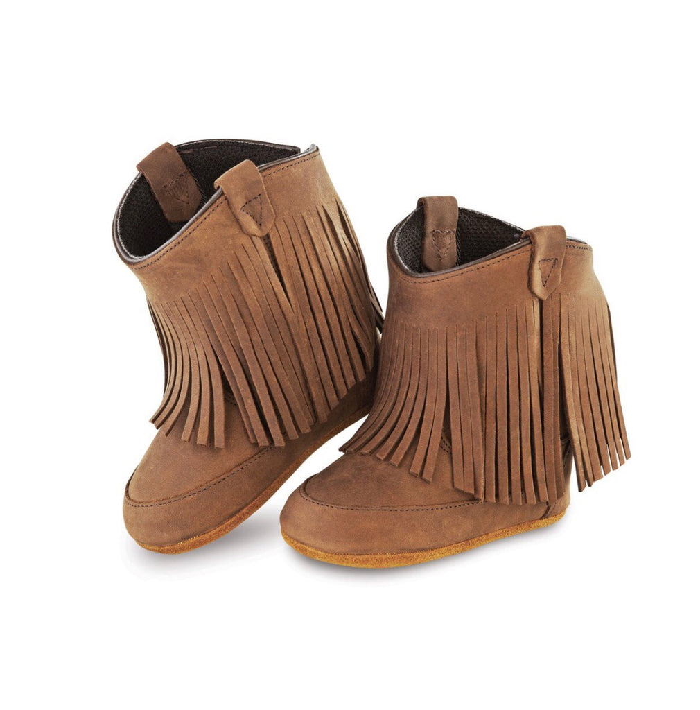 Old West Poppets Brown Fringe Infant Boots