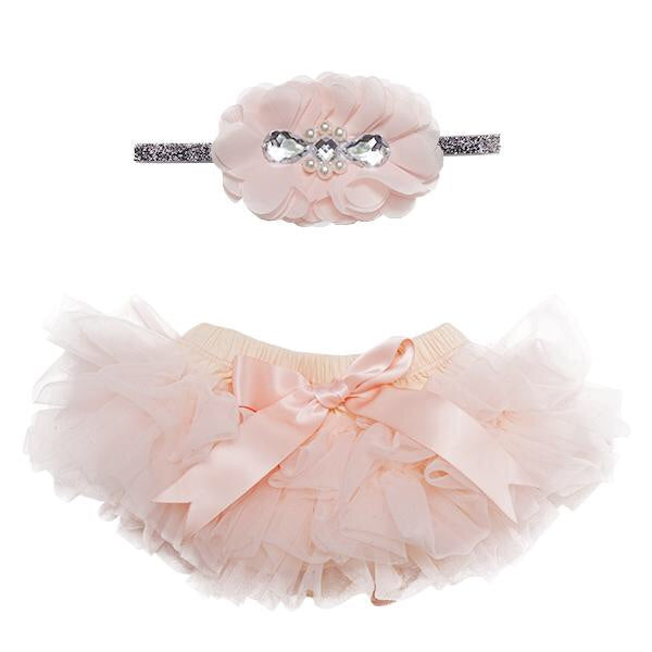 Mila & Rose Tutu Bloomer Set Peach and Silver / Newborn-3 Months - Doodlebug's Children's Boutique