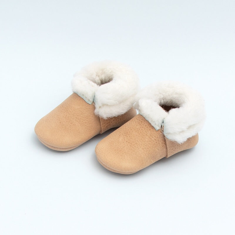 Weathered Brown Shearling Moccasin  - Doodlebug's Children's Boutique