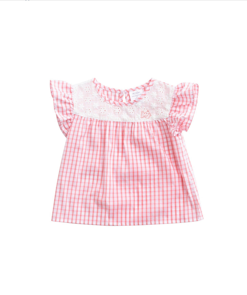 Woven Flutter Sleeve Top in Pink  - Doodlebug's Children's Boutique