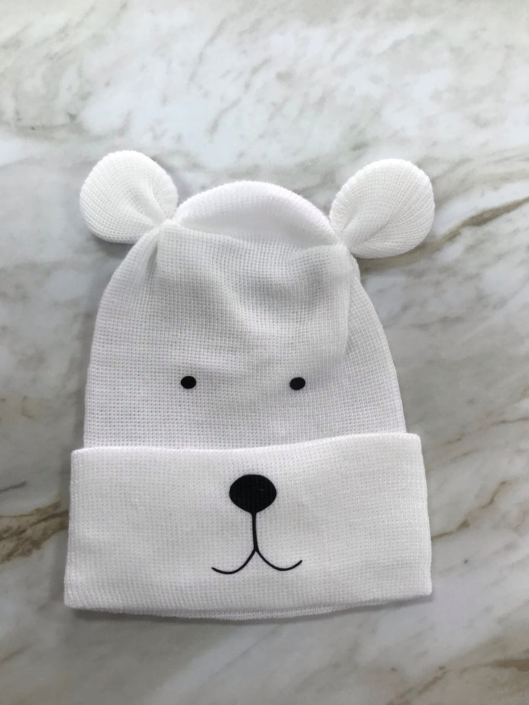 Cradle Cuties Newborn Hat for Boys White Bear - Doodlebug's Children's Boutique