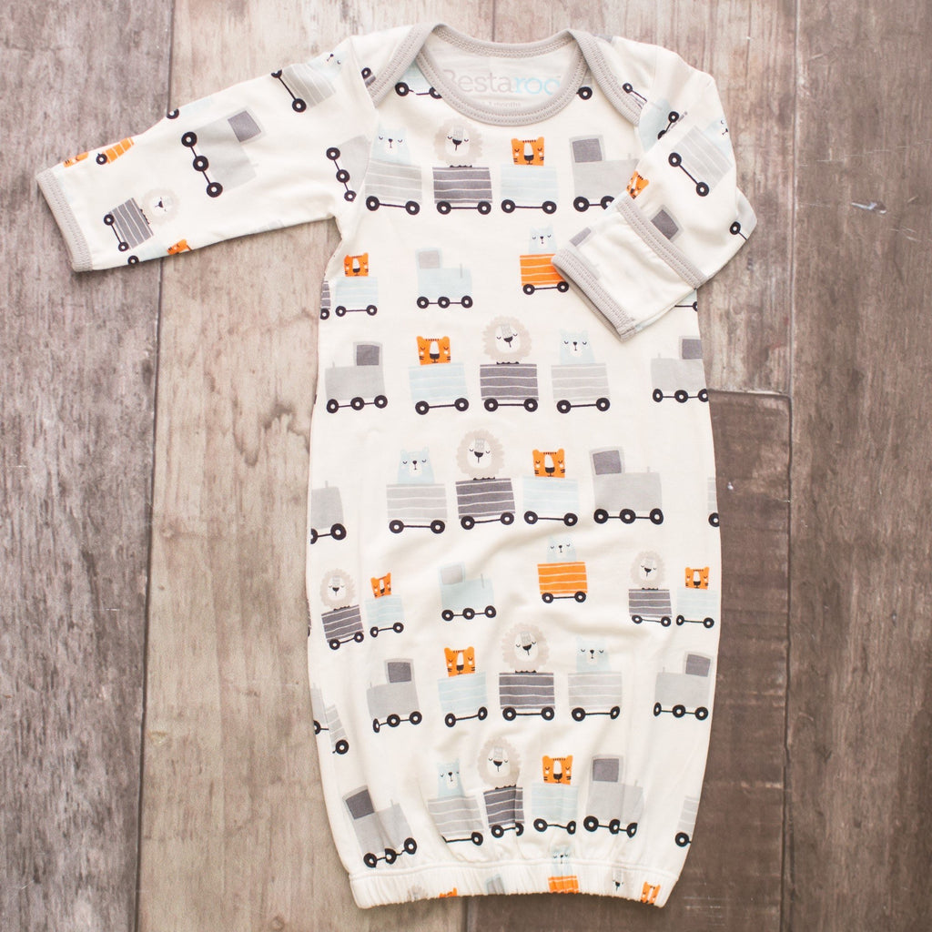 Bestaroo Overlap Gown for Boys Train Ride Animals / 0-3 months - Doodlebug's Children's Boutique