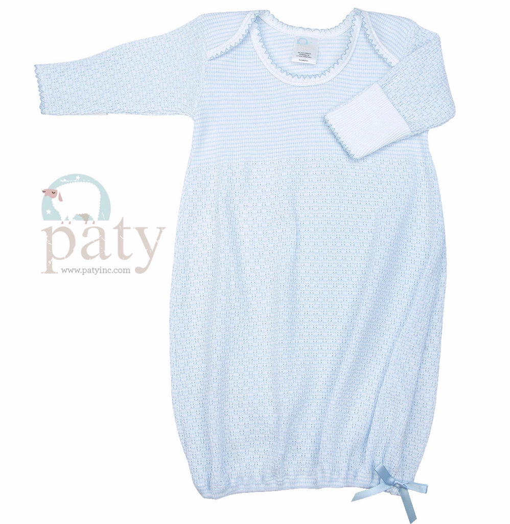 Blue Stripe Gown Preemie - Doodlebug's Children's Boutique