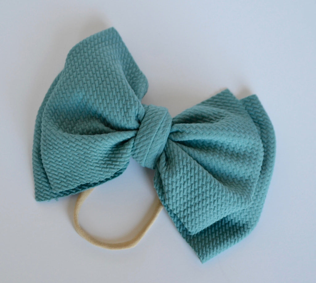 Mineral Blue Bella Bow Mineral Blue - Doodlebug's Children's Boutique