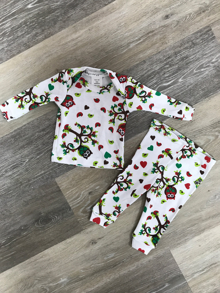 Christmas Owl Pajamas Newborn - Doodlebug's Children's Boutique
