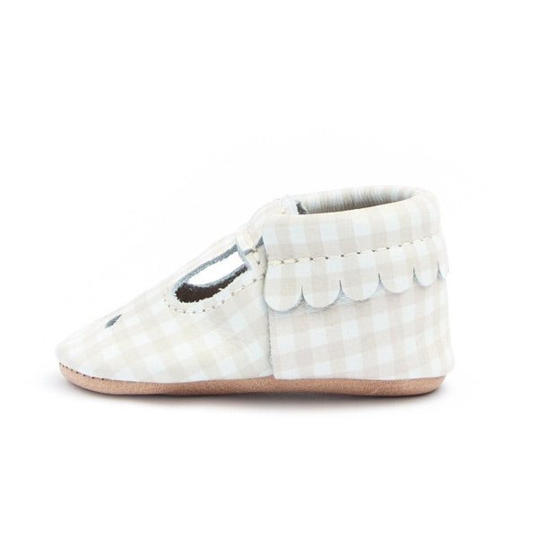 Almond Gingham Infant Mary Jane Shoes 1 (6wks-6mo) - Doodlebug's Children's Boutique