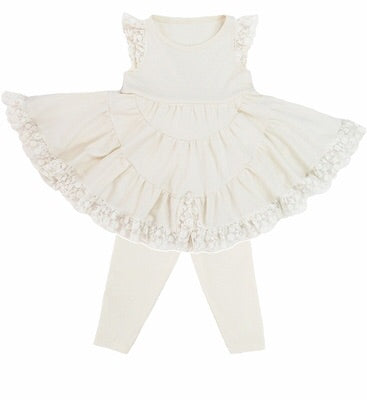 Lemon Loves Layette Lace Dress Set with Leggings