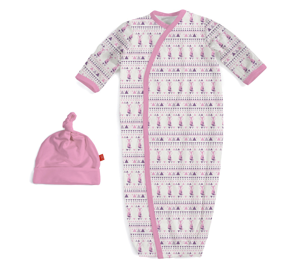 Magnetic Me Modal Sack Gown and Hat Set for Girls Pink Foxy Fair Isle / NB-3m - Doodlebug's Children's Boutique