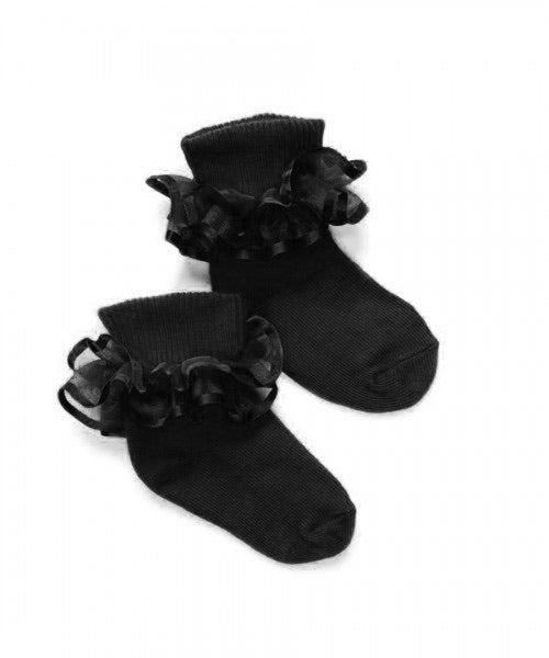 Black Frilly Lace Socks Shoe Size 0-1 - Doodlebug's Children's Boutique