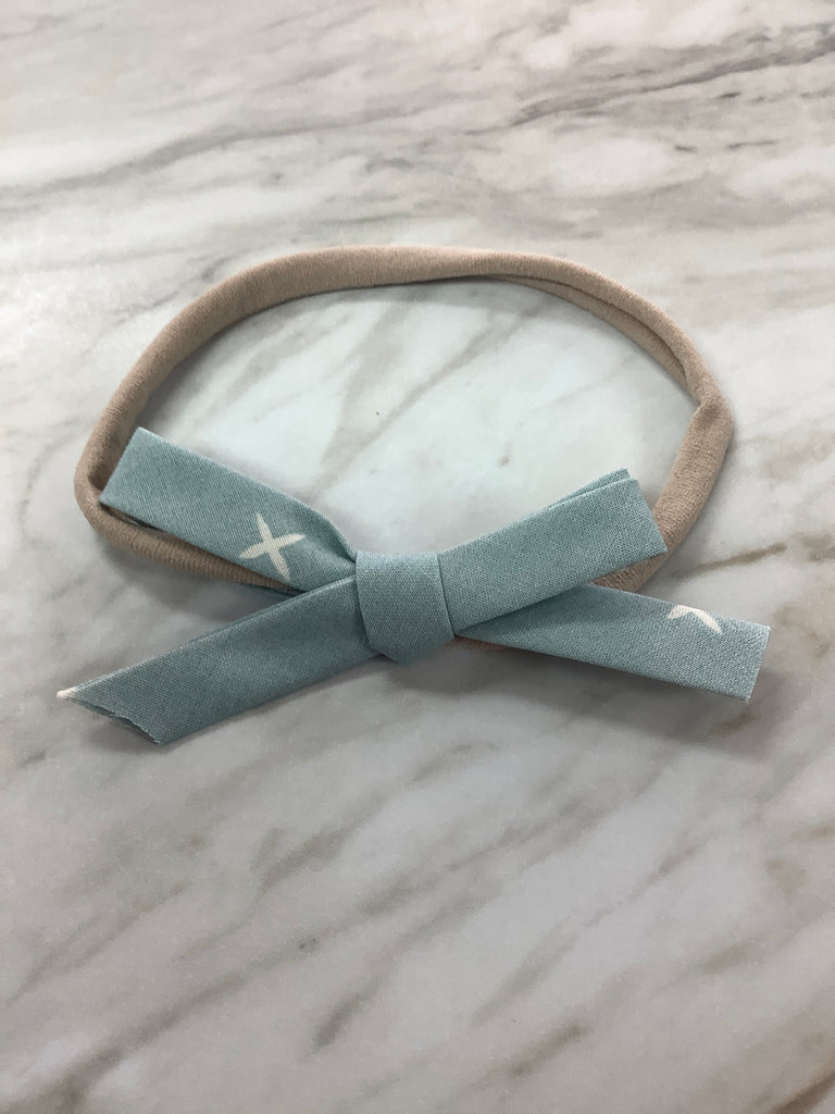 Hand Tied Bow on Nylon in Sky Blue X  - Doodlebug's Children's Boutique