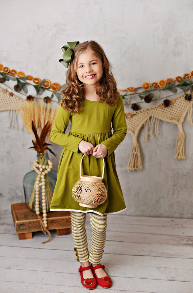 Olive Pocket Tunic with Legging and Headband  - Doodlebug's Children's Boutique