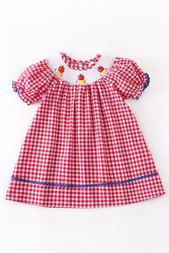PREORDER Back to School Smocked Red Plaid Dress