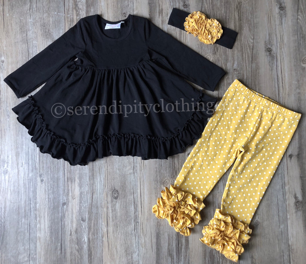 Serendipity Black Swing Top with Mustard Dot Legging