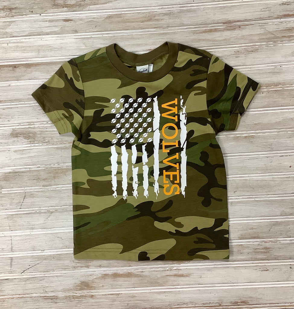 Camo Wolves Football Tee  - Doodlebug's Children's Boutique