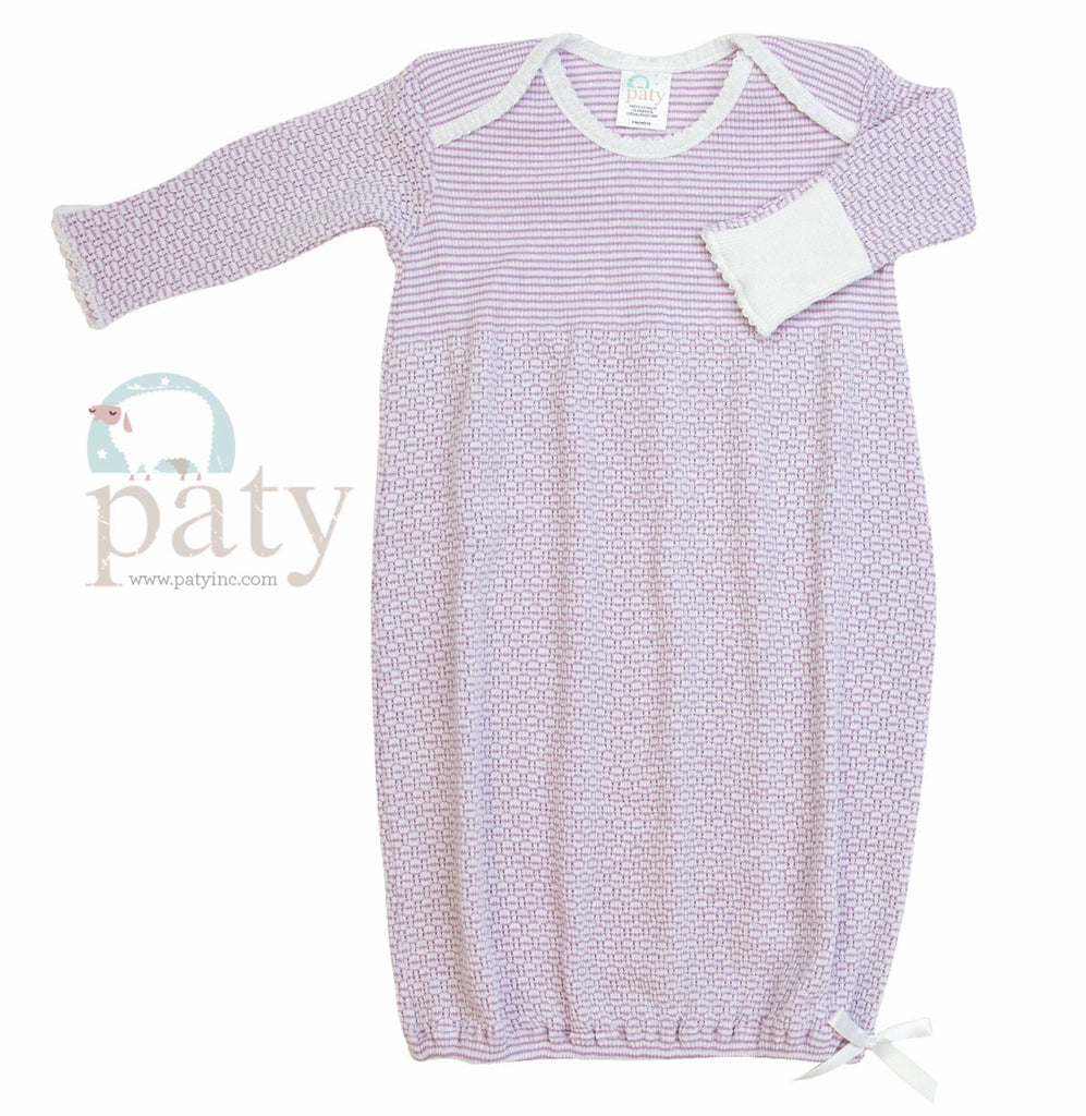 Lavender Stripe Gown Preemie - Doodlebug's Children's Boutique
