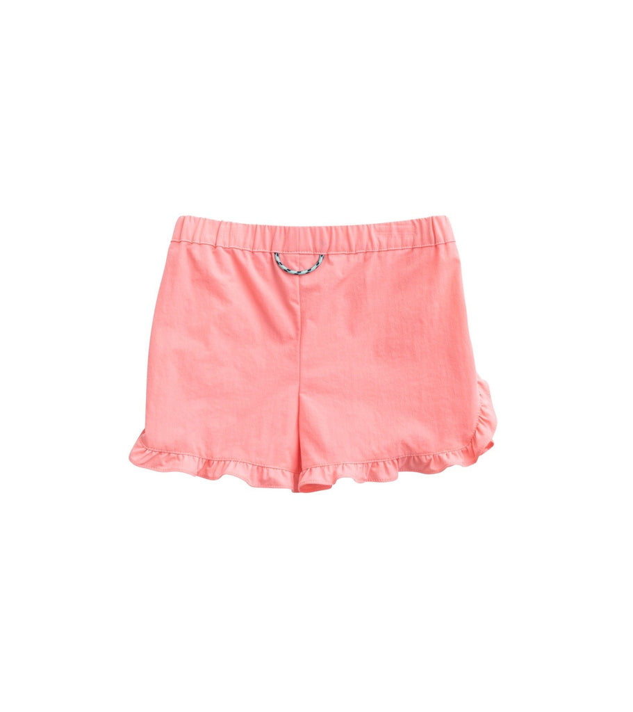 Ruffle Stretch Short in Salmon Rose  - Doodlebug's Children's Boutique
