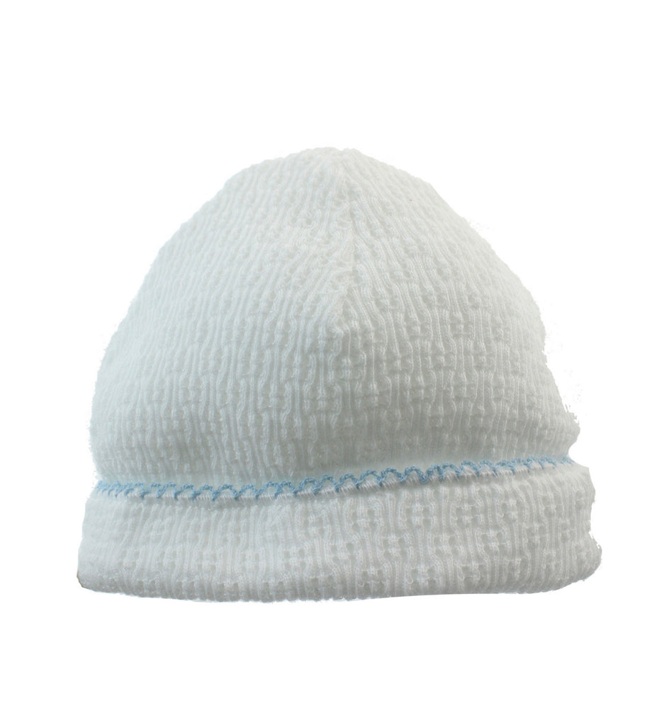 White Sailor Cap with Blue Trim  - Doodlebug's Children's Boutique