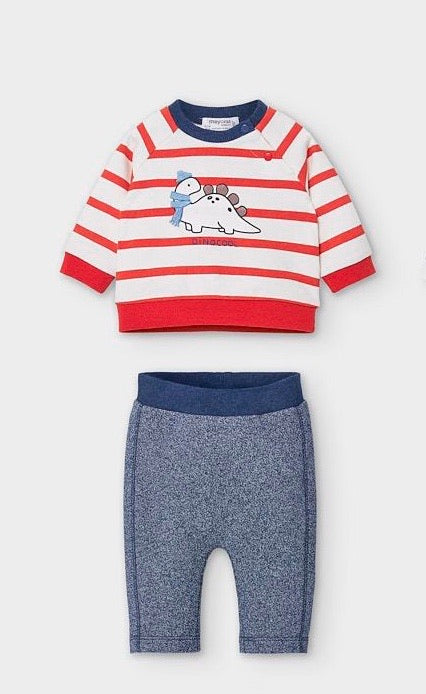 Striped Dino Knit Set  - Doodlebug's Children's Boutique