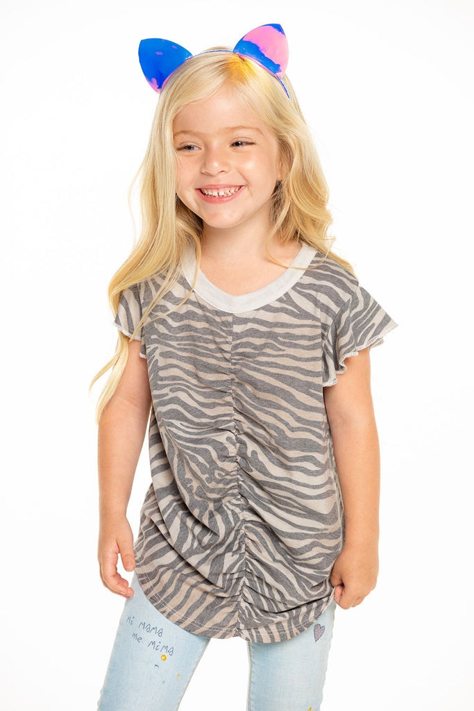 Recycled Vintage Jersey Shirred Flutter Sleeve Tee in Zebra Stripe  - Doodlebug's Children's Boutique