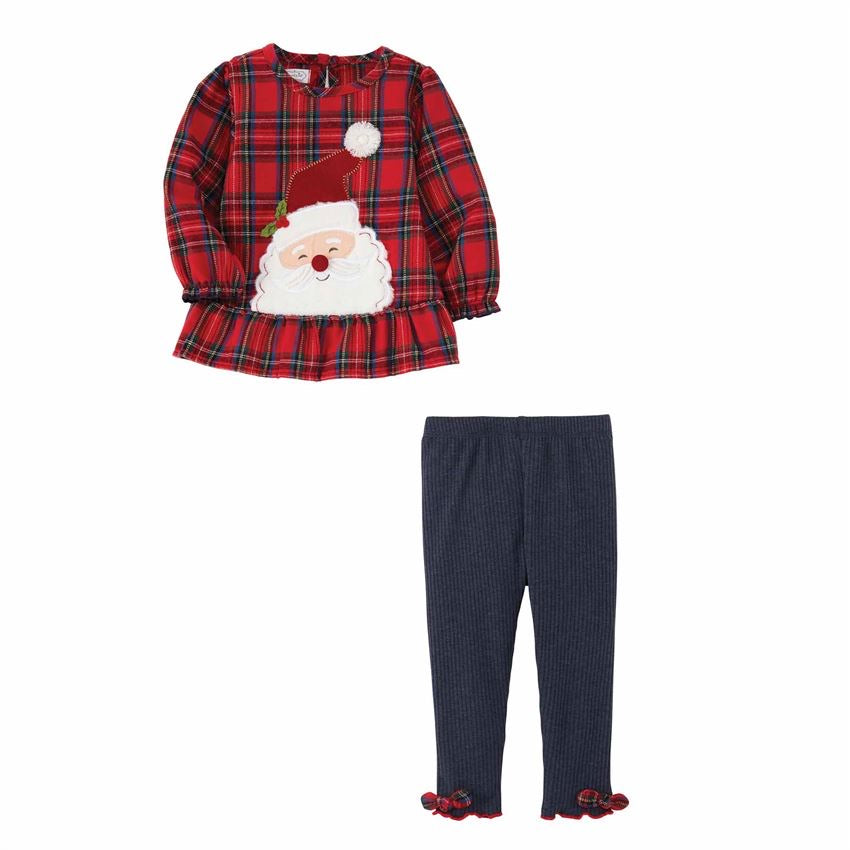 Santa Tartan Tunic Legging Set  - Doodlebug's Children's Boutique