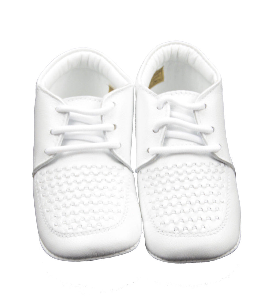 Curly Infant Leather Shoes in White  - Doodlebug's Children's Boutique