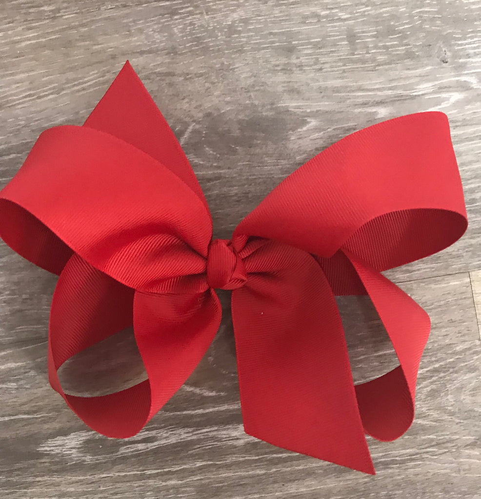 Large Solid Hair Bow in Red Red - Doodlebug's Children's Boutique