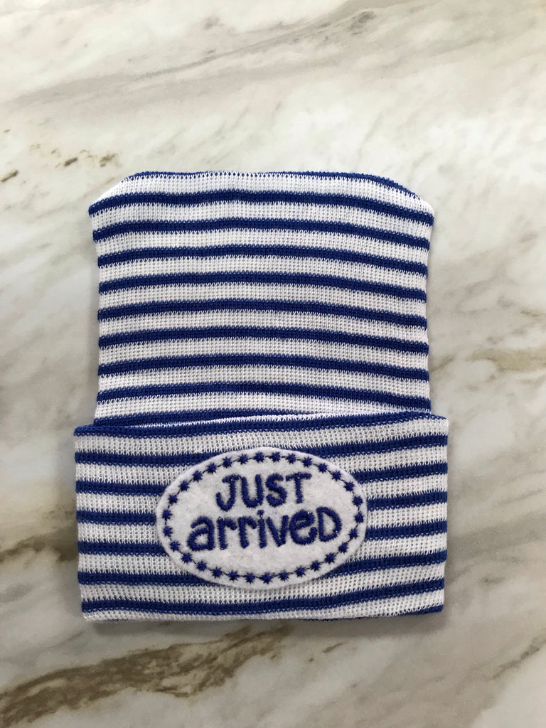 Cradle Cuties Newborn Hat for Boys Dark Blue Stripe Just Arrived - Doodlebug's Children's Boutique