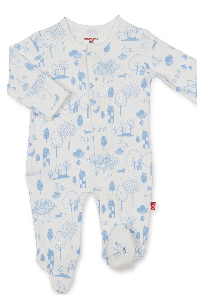 Blue Perfect Day Organic Cotton Magnetic Footie  - Doodlebug's Children's Boutique