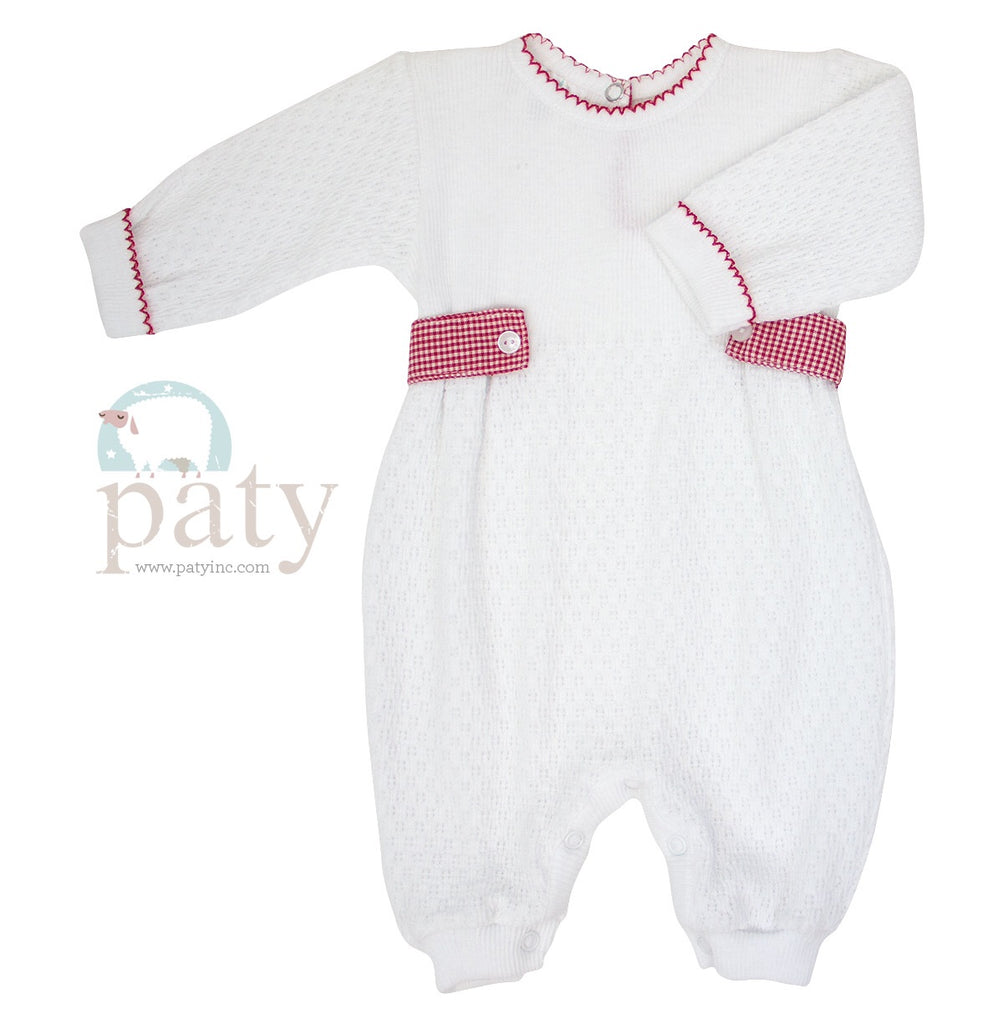 Romper with Red Gingham Side Tab  - Doodlebug's Children's Boutique