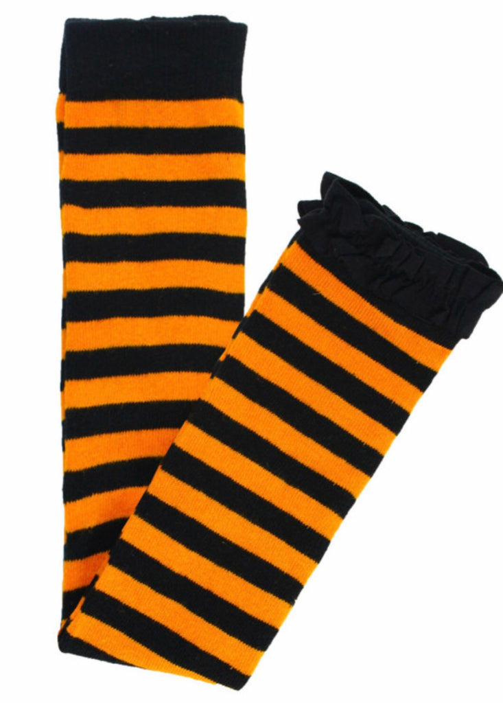 Footless Ruffle Tights in Halloween Stripe Black & Orange Stripes / 0-6 months - Doodlebug's Children's Boutique