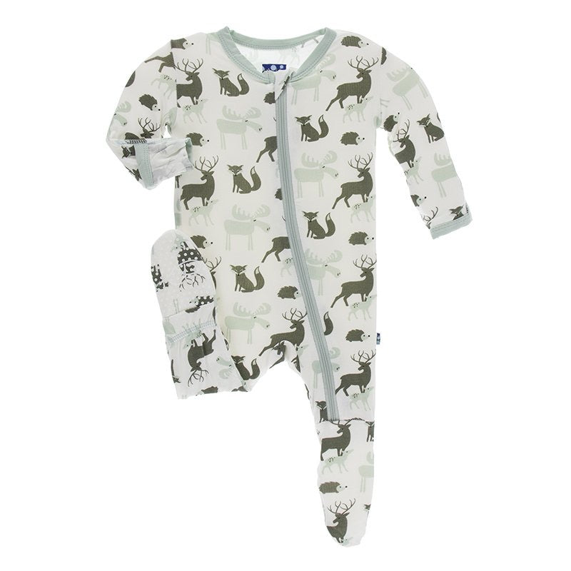 Print Footie with Zipper in Natural Forest Animals  - Doodlebug's Children's Boutique