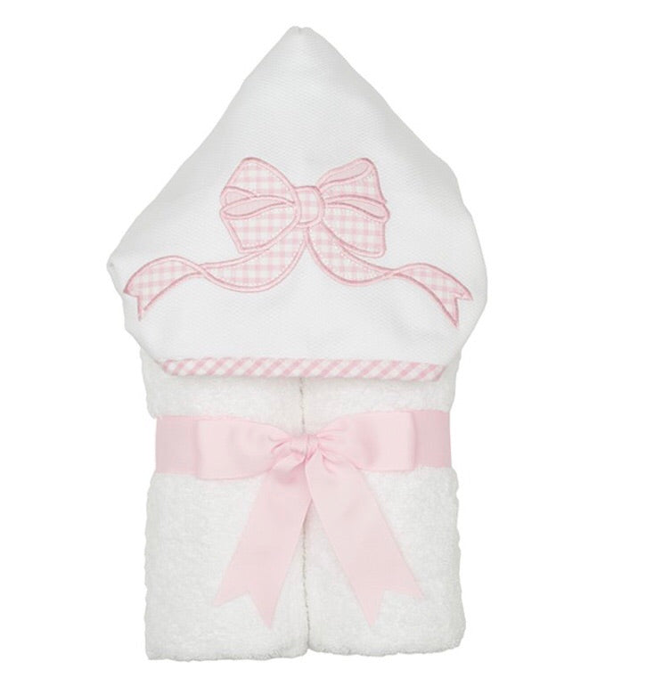 Pink Bow Everykid Hooded Towel with Appliqué Pink Bow - Doodlebug's Children's Boutique