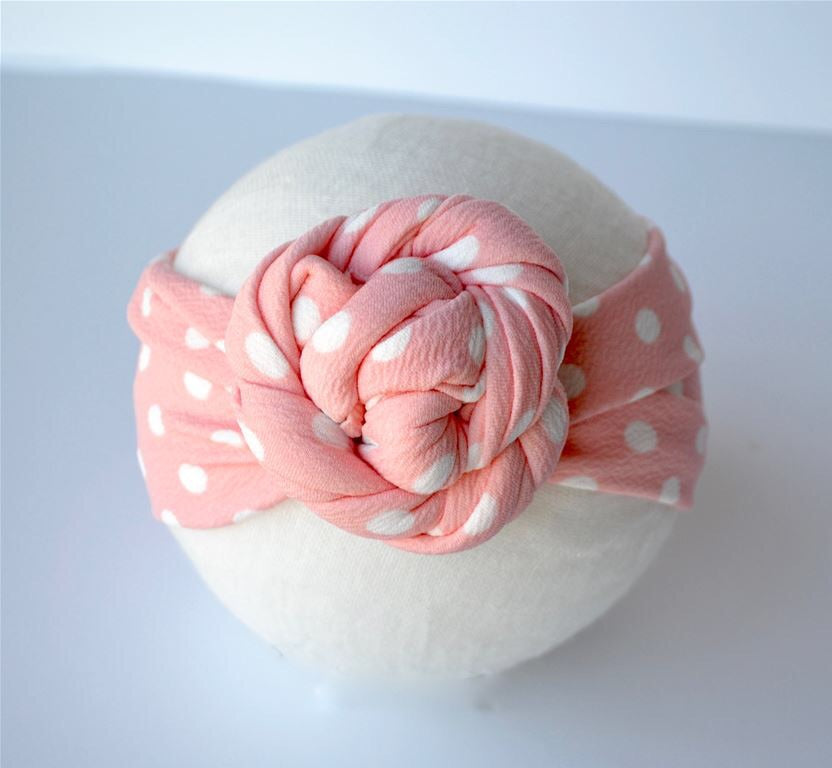 Pink with White Dot Top Knot Headband Pink/White Dot / Size 1 (newborn-6 months) - Doodlebug's Children's Boutique