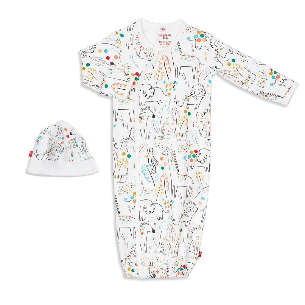 Magnetic Me Organic Gown and Hat Set Unisex