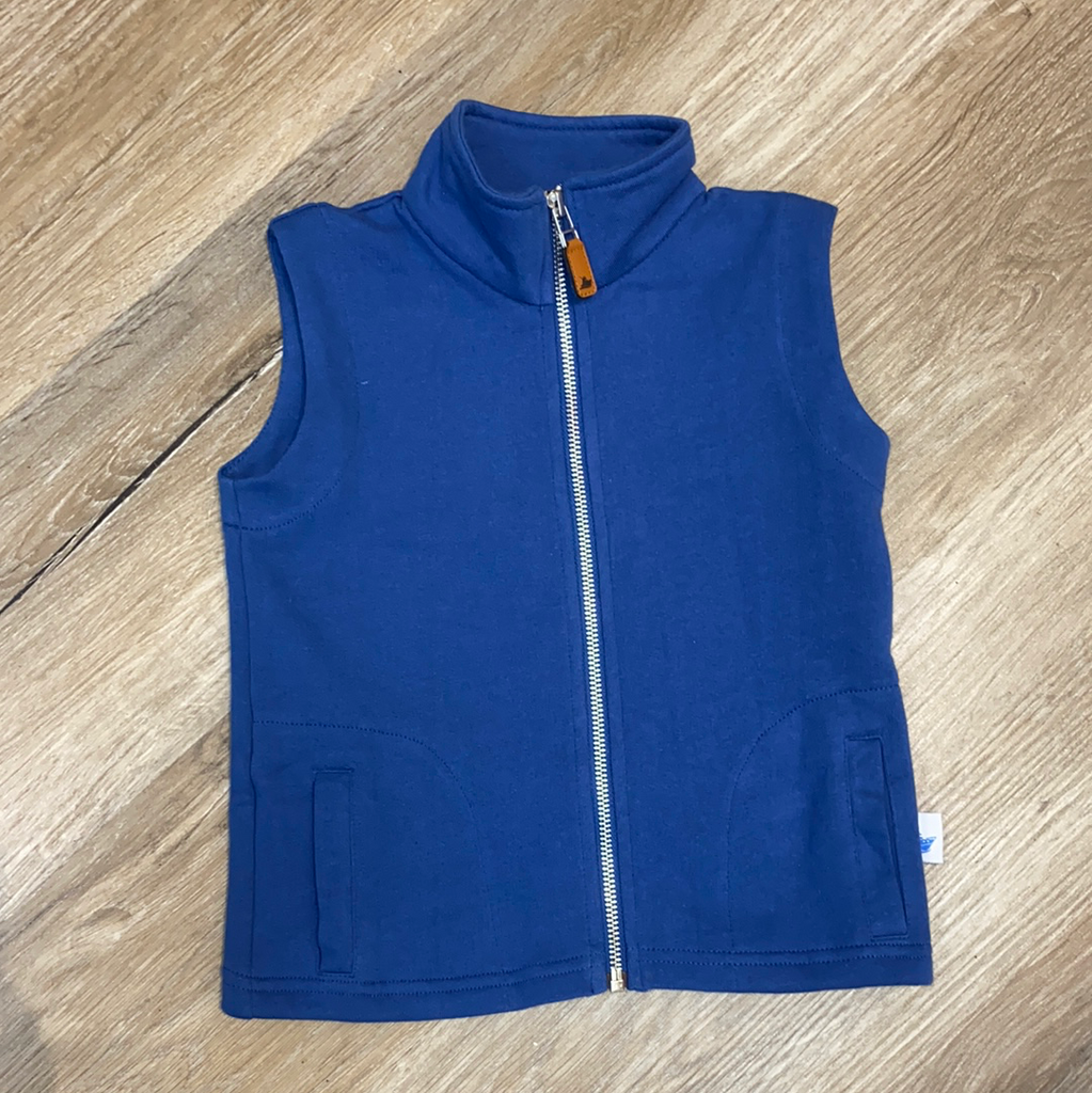 Knit Vest In Blue  - Doodlebug's Children's Boutique