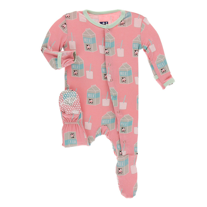 Print Muffin Ruffle Footie with Zipper in Strawberry Milk  - Doodlebug's Children's Boutique